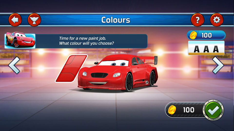Disney Cars Lightning Speed colours