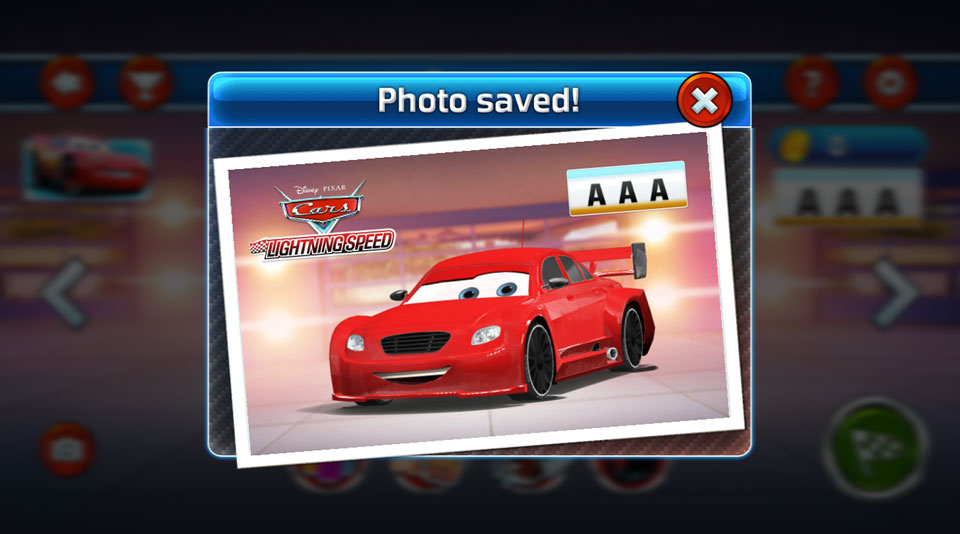 Disney Cars Lightning Speed photomode