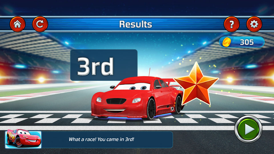 Disney Cars Lightning Speed results