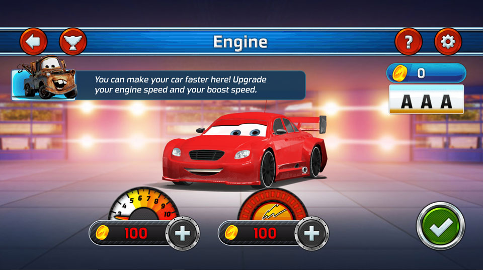 Disney Cars Lightning Speed engine